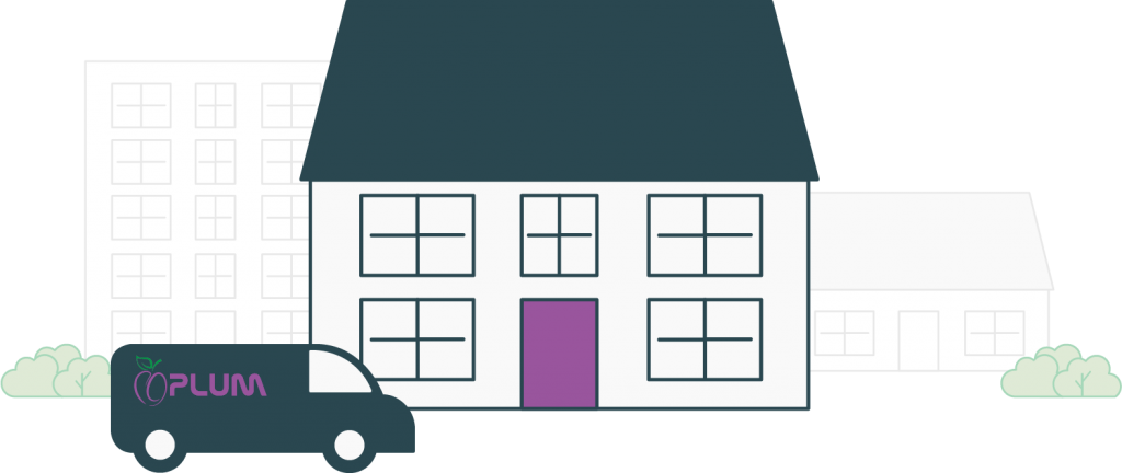 Plum UK Van Outside House Illustration